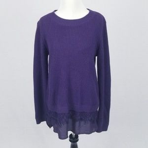 CHELSEA & THEODORE Purple Sweater with Lace